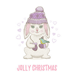 cute christmas rabbit with bird winter animal vector image