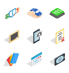 Dangle icons set isometric style vector