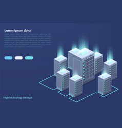 data center concept cloud storage data transfer vector image