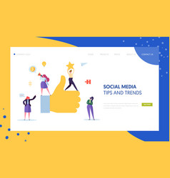 Digital social marketing character landing page vector