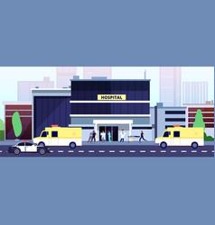 doctors at work hospital building paramedics and vector image