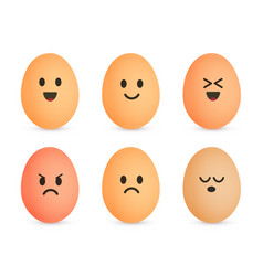 Egg icon set cheerful eggshell characters vector