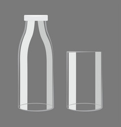 Empty milk bottle and glass design vector