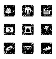 Film icons set grunge style vector