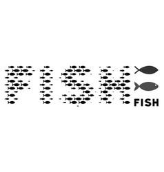 Fish halftone fish word collage vector