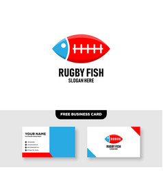 Fish rugby logo design and business card template vector