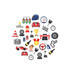 flat car racing icons in circle shape vector image