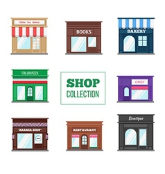 Flat shops and stores collection vector image