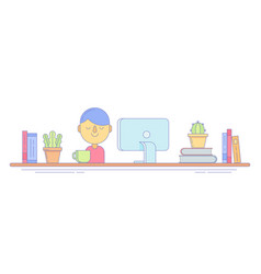 freelance worker icon for remote business vector image