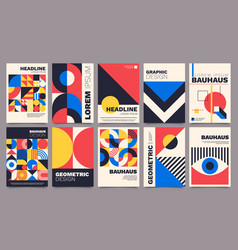 Geometric posters bauhaus cover templates with vector