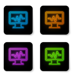 glowing neon computer monitor with cardiogram vector image