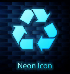 glowing neon recycle symbol icon isolated on brick vector image