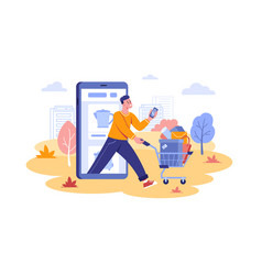 Guy done remote mobile shopping vector