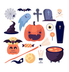 halloween set spider web and pumpkin bat and vector image