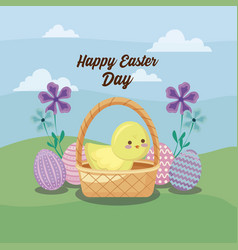 happy easter day card with cute chicken and eggs vector image