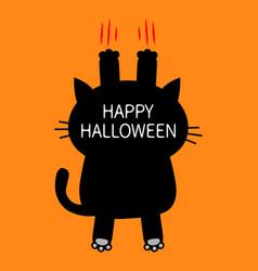 happy halloween cartoon black cat scratching back vector image