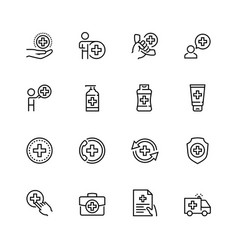 healthcare icon set in thin line style vector image