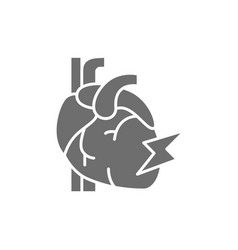 Heart attack myocardial infarction grey vector