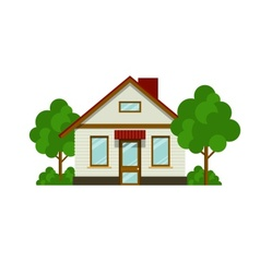 House with trees vector