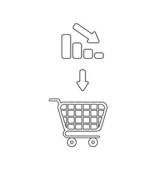 icon concept shopping cart with bar graph down vector image