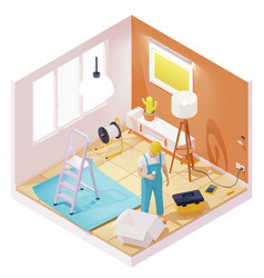 isometric electrician working in room vector image