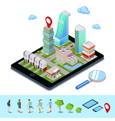 Isometric Mobile Navigation Tourism Industry vector