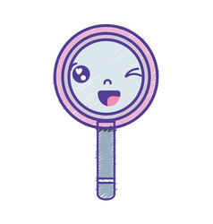 Kawaii cute funny magnifying glass vector