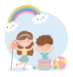 Kids zone cute little boy and girl drum ball and vector