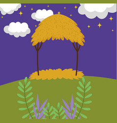 landscape hut night stars meadow branches vector image