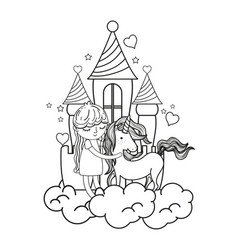 line girl and beauty unicorn in the castle with vector image