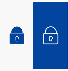 Lock security locked login line and glyph solid vector