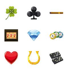 Luck icons set cartoon style vector