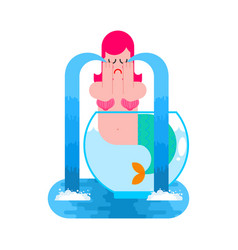mermaid in aquarium crying mythical sad woman vector image