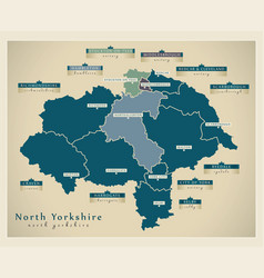 Modern map - north yorkshire county with labels vector