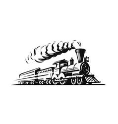 Moving retro steam locomotive vintage train vector
