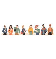 multicultural multiracial students millennials vector image