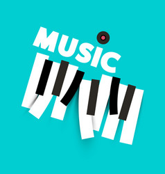 music background with keyboard keys and lp vinyl vector image