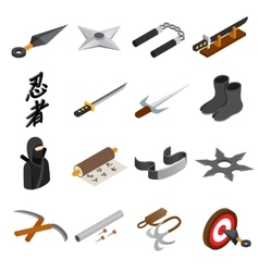Ninja isometric 3d icon vector