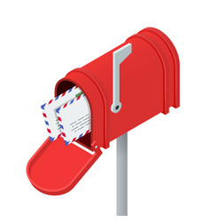 Open red mailbox and letters in it isometric vector