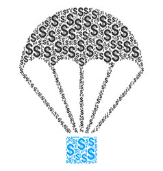 Parachute collage of dollar vector