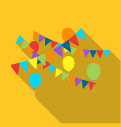 Party flags and balloons icon in flat style vector
