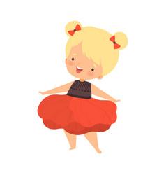 Pretty blonde little girl wearing red pion flower vector