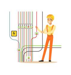 Professional electrician man character repairing vector