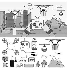 quadcopters on street line monochrome vector image