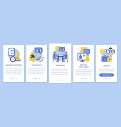 Recruitment onboarding mobile app page screen vector