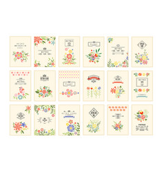retro card with flowers set romantic vintage vector image