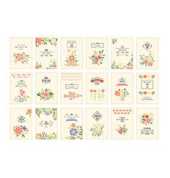 Retro card with flowers set romantic vintage vector