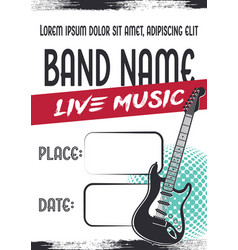 Rock music concert poster with electric guitar vector