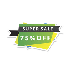 Sale banner template design 75 percent discount vector