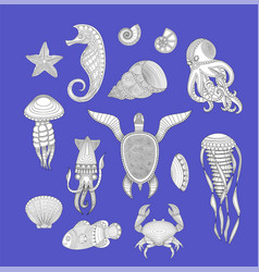 sea inhabitants set of marine inhabitants vector image